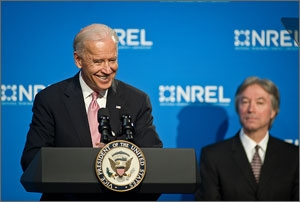 Vice-President Joe Biden spoke about clean-energy partnerships between government scientists and private entrepreneurs at the National Renewable Energy Laboratory on May 20.
