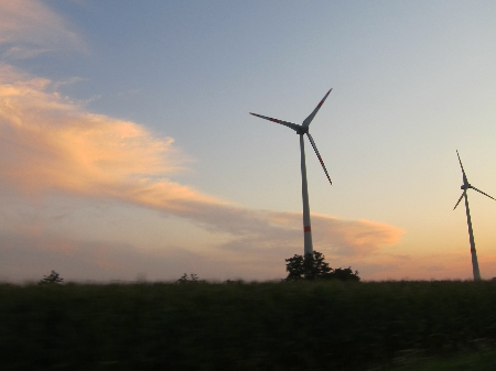 Wind turbines along the highway