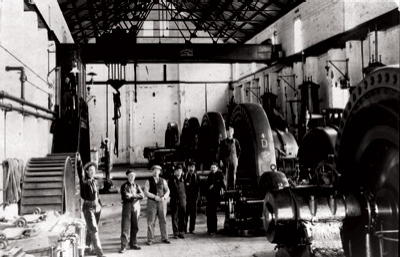 As this historical photograph shows, the Borel powerhouse originally contained five horizontal turbine- generating units.