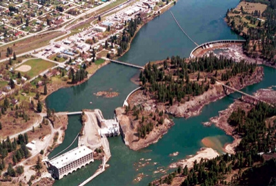 The Thompson Falls project includes two powerhouses, separated by an island, and two spillways, also separated by an island.