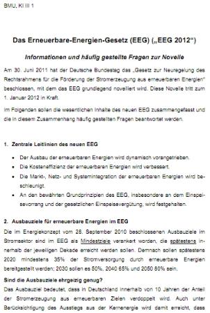 Renewable Energy Sources Act (EEG) FAQ