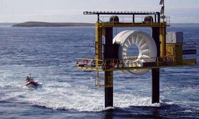 This is a rendering of a 1-MW undersea turbine by Irish company OpenHydro that has been deployed by Nova Scotia Power in the Bay of Fundy. The 400-ton device was secured to the seabed with an underwater gravity base