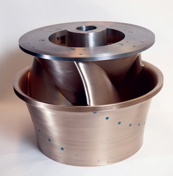 The Alden turbine hydro turbine runner design was designed and tested at a pilot scale in the laboratory for fish survivability in the early 2000s.