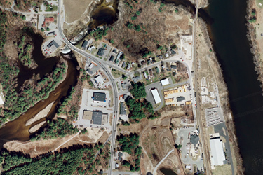 This aerial view of the Souhegan River shows what it looks like after the Merrimack Village Dam was removed. Monitoring is ongoing to better understand the geomorphic response to dam removal.