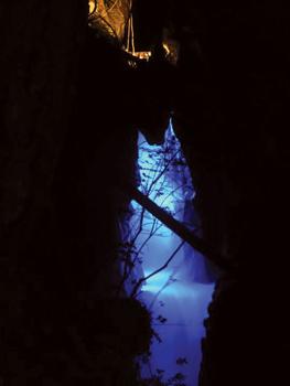 LED lighting illuminates Ladder Creek Falls near the Skagit Hydroelectric project in Washington state.