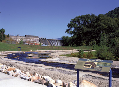 A working scale model of the 1996 Atlanta Olympic Games whitewater course built upstream in the Ocoee River sits below Ocoee Dam No. 1. The model allowed designers to plan placement of manmade elements in the riverbed.