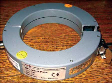 A split-core radio frequency current transformer is used to collect data on generator condition during electromagnetic interference diagnostics.