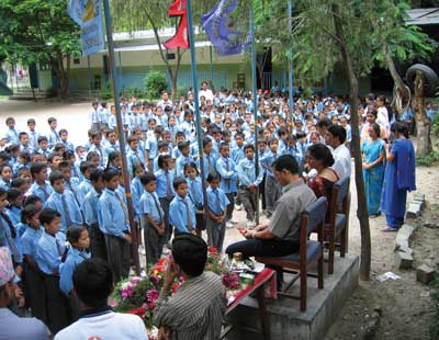 The Khimti Project School has 400 students, the majority of which are from the local area. (Photo courtesy Khadga Bahadur Bisht)
