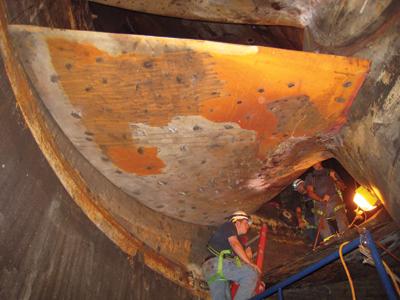 Repair work was undertaken, which consisted of welding the failed blade section back in place, to get the unit operating again while the U.S. Army Corps of Engineers planned a runner replacement.