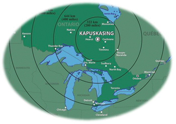 Kapuskasing is a small community located on the Kapuskasing River in Northern Ontario.