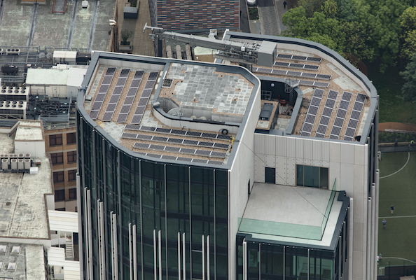 London's newly-redeveloped South Bank Tower will harness the power of the sun to light up its 193 luxury apartments, shops, restaurants and bars after a solar array was installed on the roof.