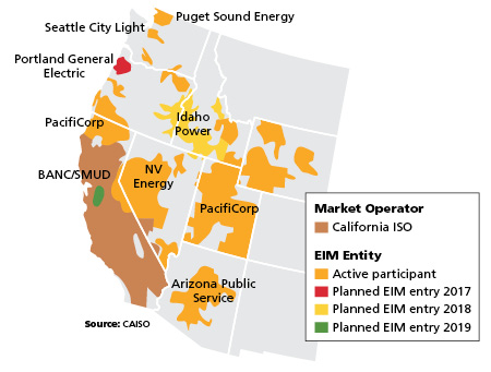 Entities of the Western Energy Imbalance Market. Credit: California Independent System Operator/OATI.