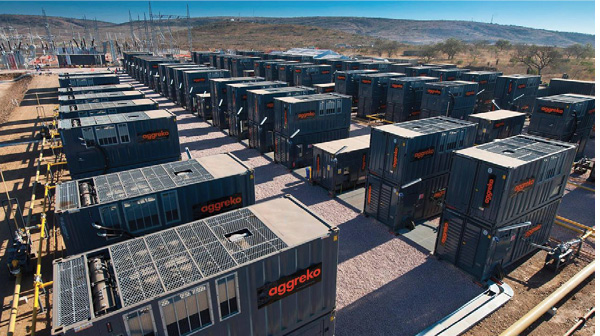 Aggreko 100-MW temporary power system installed at a utility site in Mozambique. Credit: Aggreko.