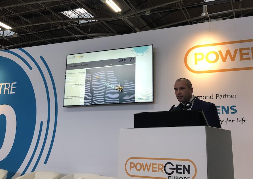 Chris Milne, Orbital Marine, gives a presentation at POWERGEN Europe
