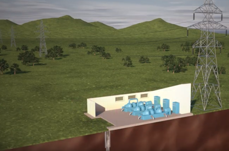 Rendering of a geothermal system that uses hot rocks buried deeply in the earth to make energy. Credit: UT Austin