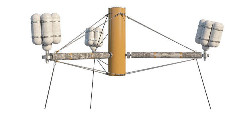 A three-dimensional representation of the SpiderFLOAT platform is pictured above. The SpiderFLOAT system aims to reduce the cost of energy to 7.5 ¢/kWh, combining SpiderFLOAT's scalable offshore floating wind substructure with a 10-megawatt reference turbine. Graphic from NREL