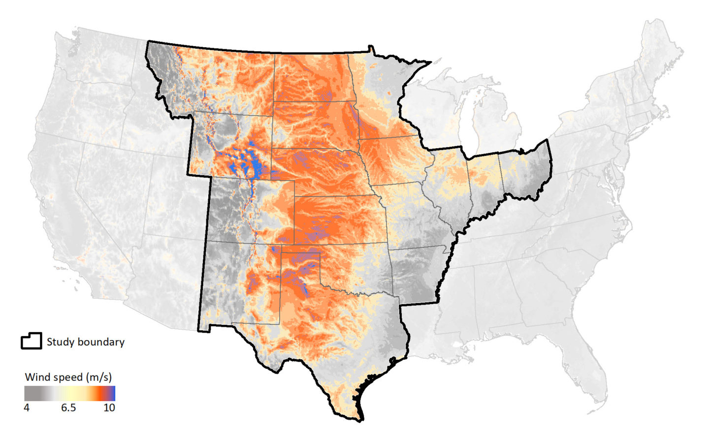 Map of central U.S. wind belt.