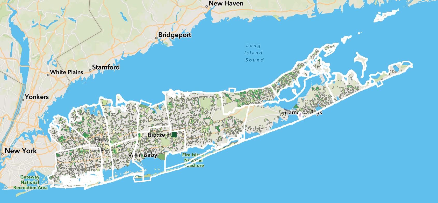 Screenshot map from Long Island Solar Roadmap.