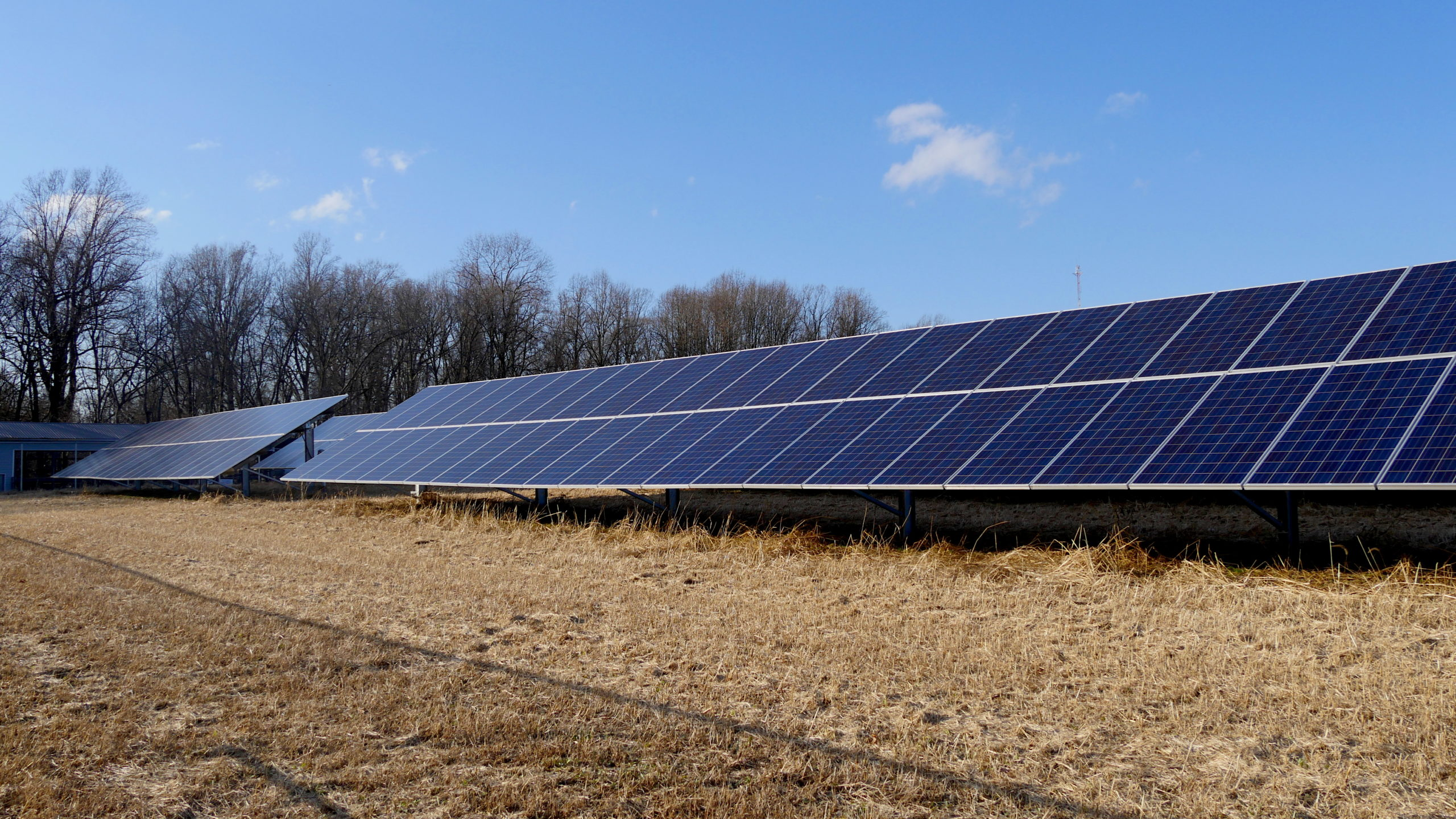 Photo of a solar array in a field.