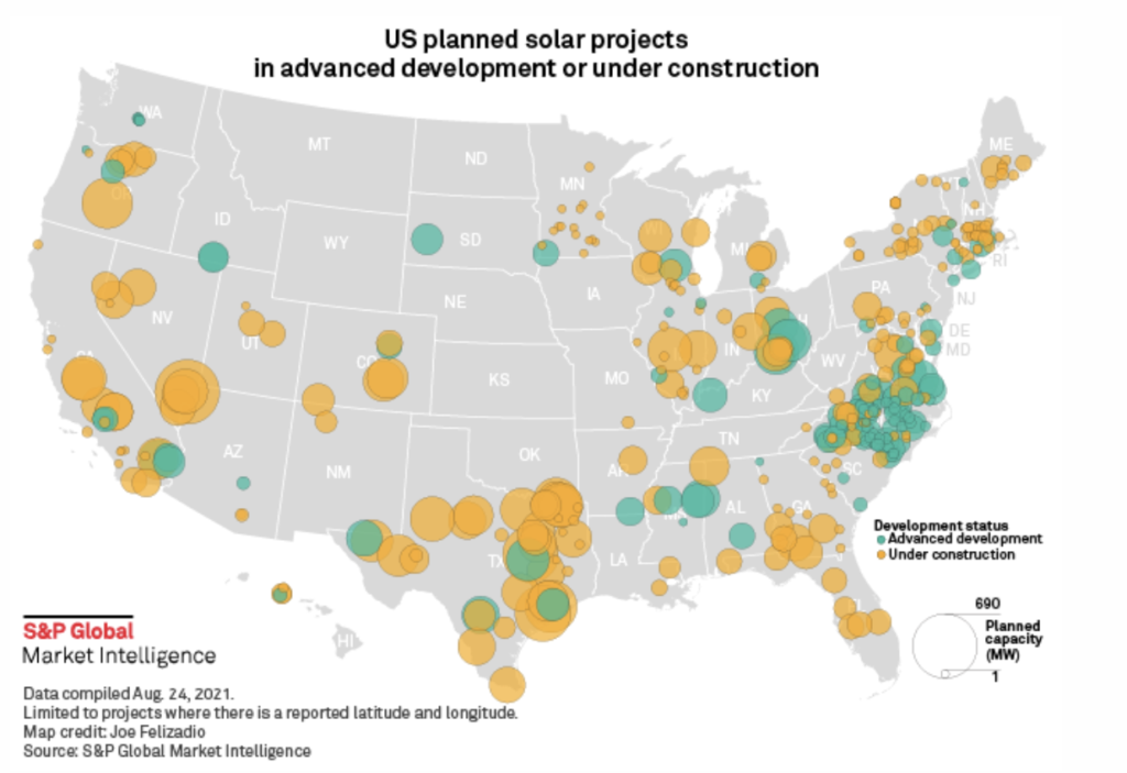 US solar project pipeline map