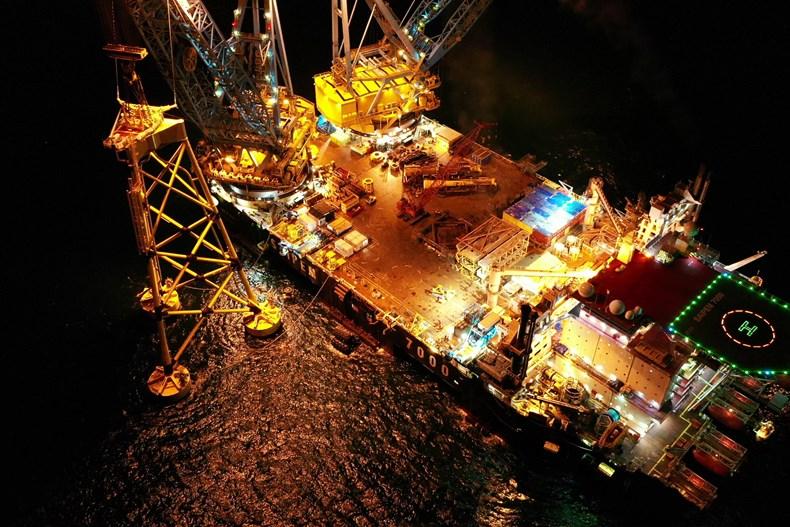 Scotland's largest offshore wind farm installs first turbine foundation